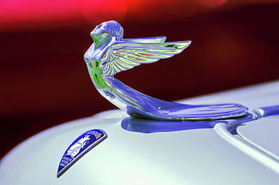 Print featuring the photograph 1933 Plymouth Hood Ornament -0121rc by Jill Reger
