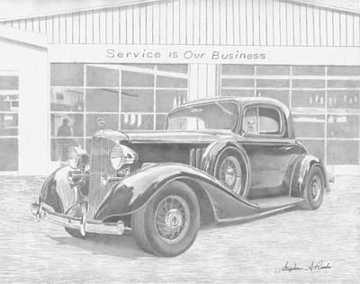 Pontiac Drawing - 1933 Pontiac Coupe Classic Car Art Print by Stephen Rooks
