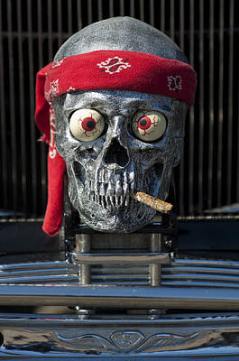 Chrome Skull Photograph - 1933 Reo Flying Cloud Rat Rod Grille Ornament by Jill Reger