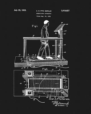 Nike Drawing - 1933 Treadmill Patent by Dan Sproul