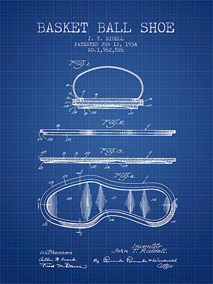 1934 Basket Ball Shoe Patent - Blueprint Art Print by Aged Pixel