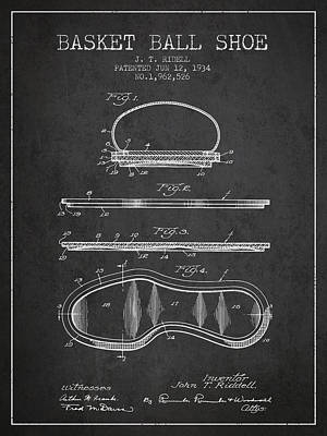 Basket Ball Drawing - 1934 Basket Ball Shoe Patent - Charcoal by Aged Pixel