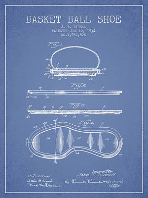 Basket Ball Drawing - 1934 Basket Ball Shoe Patent - Light Blue by Aged Pixel