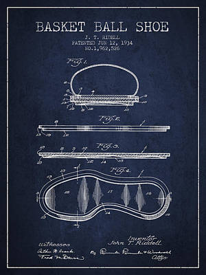 Basket Ball Drawing - 1934 Basket Ball Shoe Patent - Navy Blue by Aged Pixel
