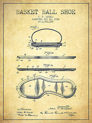 Basket Ball Drawing - 1934 Basket Ball Shoe Patent - Vintage by Aged Pixel