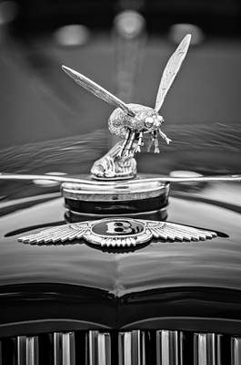 Photograph - 1934 Bentley 3.5-litre Drophead Coupe Hood Ornament -1669bw by Jill Reger