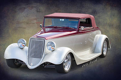 Street Rod Photograph - 1934 Ford 2 Dr Convertible By Darrell Hutto by J Darrell Hutto