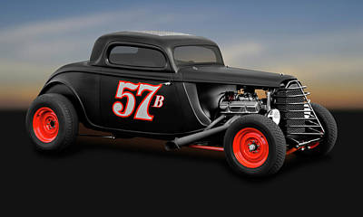 Photograph - 1934 Ford 3 Window Coupe  -  1934fordcpe9719 by Frank J Benz