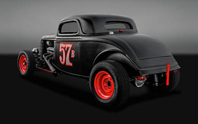 Photograph - 1934 Ford 3 Window Coupe  -  34fordcoupegry9833 by Frank J Benz