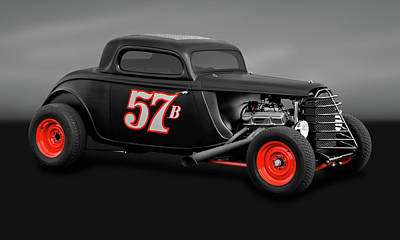 Photograph - 1934 Ford 3 Window Coupe  -  35fd3wingry9719 by Frank J Benz