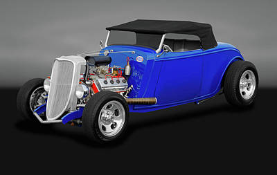 Photograph - 1934 Ford Convertible  -  1934fordconvertiblegry170850 by Frank J Benz