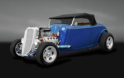 Photograph - 1934 Ford Convertible  -  1934hemifordconvertiblegry184120 by Frank J Benz