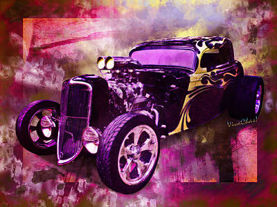 Digital Art - 1934 Ford Coupe Hot Rod Acrylic Illustration by Chas Sinklier