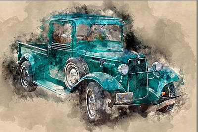 Mixed Media - 1934 Ford Pickup by David Wagner