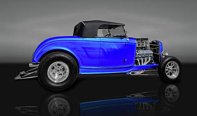 Photograph - 1932 Ford Roadster Convertible Coupe  -  32fdcvrdstrgryrflt0100 by Frank J Benz