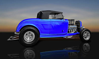 Photograph - 1932 Ford Roadster Convertible Coupe  -  32fdrdstrrflct0100 by Frank J Benz