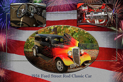 Photograph - 1934 Ford Street Rod Classic Car 5545.01 by M K  Miller