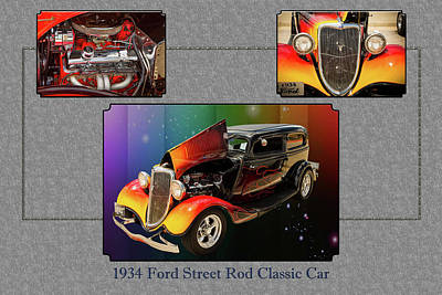 Photograph - 1934 Ford Street Rod Classic Car 5545.02 by M K  Miller