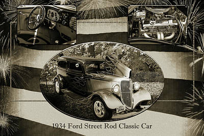 Photograph - 1934 Ford Street Rod Classic Car 5545.50 by M K  Miller
