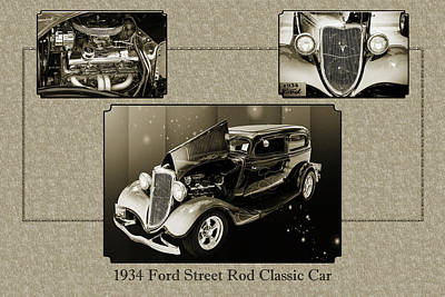 Photograph - 1934 Ford Street Rod Classic Car 5545.51 by M K  Miller