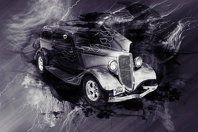 Photograph - 1934 Ford Street Rod Classic Car 5545.54 by M K  Miller