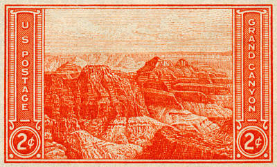 Postage Stamps Painting - 1934 Grand Canyon Stamp by Historic Image