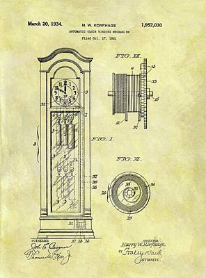 Drawing - 1934 Grandfather Clock Patent by Dan Sproul