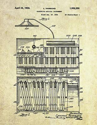 Organ Wall Art - Digital Art - 1934 Hammond Organ Patent Art by Gary Bodnar