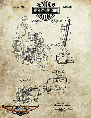 Drawing - 1934 Harley Davidson Motorcycle  by Dan Sproul