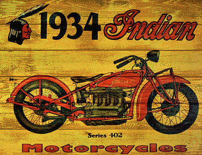 Old Door Mixed Media - 1934 Indian Motorcycle  by Dan Sproul