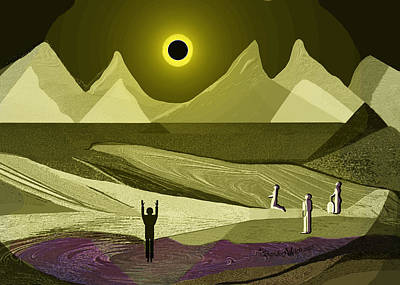 Digital Art - 1934 - People Watching The Eclipse 2017 by Irmgard Schoendorf Welch