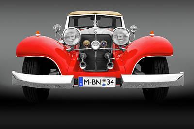 Photograph - 1934 Mercedes 500k Roadster Front Detail  -  1934mercedesrdstrfrtdetailfa183874 by Frank J Benz