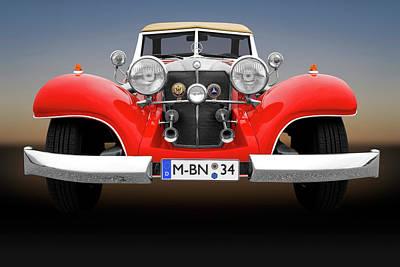 Photograph - 1934 Mercedes 500k Roadster Front Detail  -  1934mercedesroadsterfrtdetail183874 by Frank J Benz
