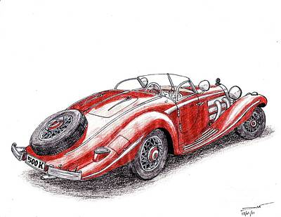Mercedes Automobile Drawing - 1934 Mercedes-benz 500k by Dan Poll