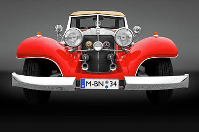Photograph - 1934 Mercedes Roadster Front Detail  -  1934mercedesfrtdetailgry183874 by Frank J Benz