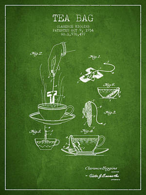 1934 Tea Bag Patent - Green Art Print by Aged Pixel