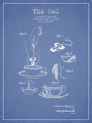 House Drawing - 1934 Tea Bag Patent - Light Blue by Aged Pixel