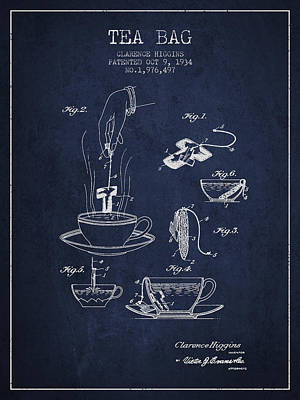 House Drawing - 1934 Tea Bag Patent - Navy Blue by Aged Pixel