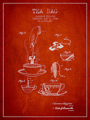 House Drawing - 1934 Tea Bag Patent - Red by Aged Pixel