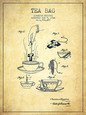 House Drawing - 1934 Tea Bag Patent - Vintage by Aged Pixel
