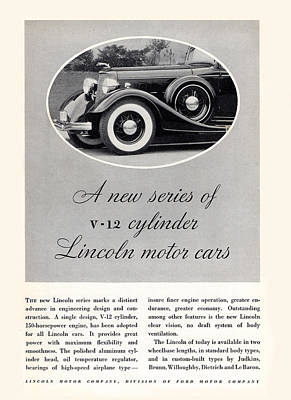 Photograph - 1934 V 12 Cylinder Lincoln Motor Car Ad by rd Erickson