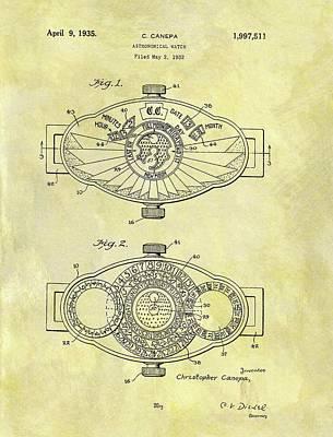 1935 Astronomical Watch Patent Art Print