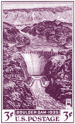 Painting - 1935 Boulder Dam Stamp by Historic Image