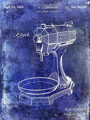 Hobart Photograph - 1935 Food Mixing Apparatus Patent Blue by Jon Neidert