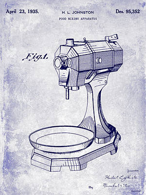 Beaters Photograph - 1935 Food Mixing Apparatus Patent Blueprint by Jon Neidert