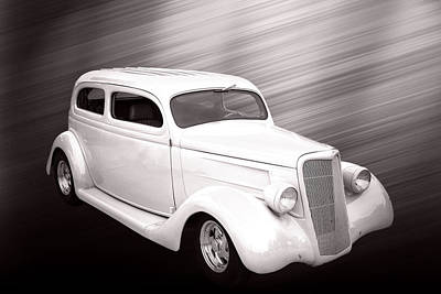 Photograph - 1935 Ford Classic Car Photograph Sepia 7155.01 by M K Miller
