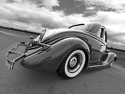 Ford Lowrider Photograph - 1935 Ford Coupe In Black And White by Gill Billington