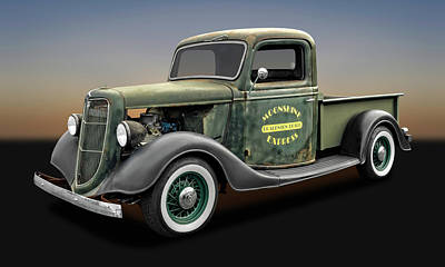 Wire Wheels Photograph - 1935 Ford Pickup Truck  -  1935fordtruck9735 by Frank J Benz
