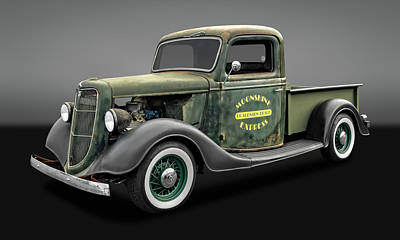 Photograph - 1935 Ford Pickup Truck  -  35fdpickupgry9735 by Frank J Benz