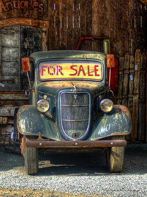 Rusty Pickup Truck Photograph - 1935 Ford Pickup Truck Hiding by Reid Callaway